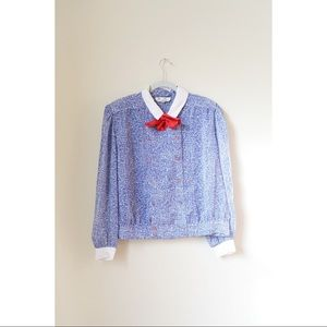 vintage blouse with bow collar